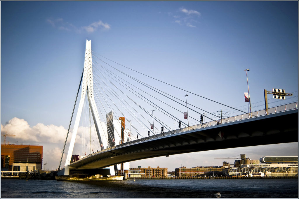 The Erasmus bridge in Rotterdam, NL